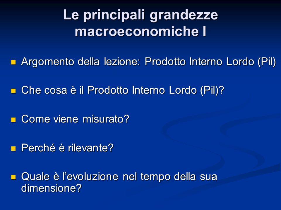Definizione di Prodotto interno lordo (Pil) Il Pil è il valore dei beni e servizi finali prodotti in uneconomia in un determinato periodo di tempo Il Pil è il valore dei beni e servizi finali prodotti in uneconomia in un determinato periodo di tempo