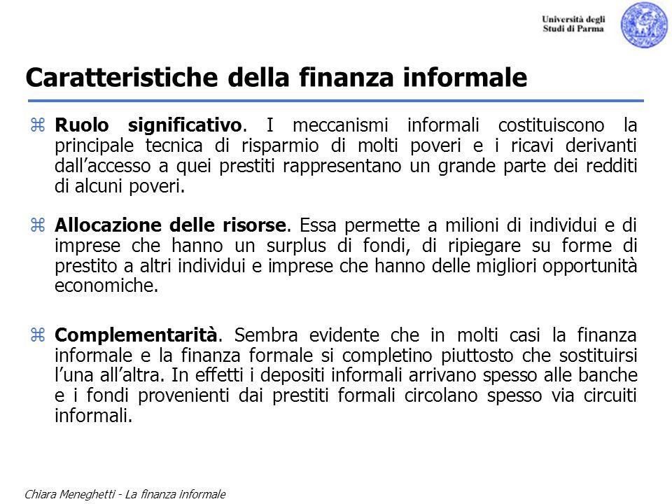 Chiara Meneghetti - La finanza informale zRuolo significativo. I meccanismi informali costituiscono la principale tecnica di risparmio di molti poveri