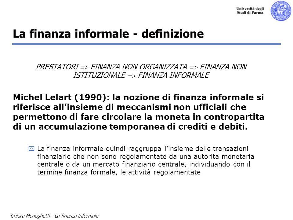 Chiara Meneghetti - La finanza informale La finanza informale - definizione PRESTATORI FINANZA NON ORGANIZZATA FINANZA NON ISTITUZIONALE FINANZA INFOR