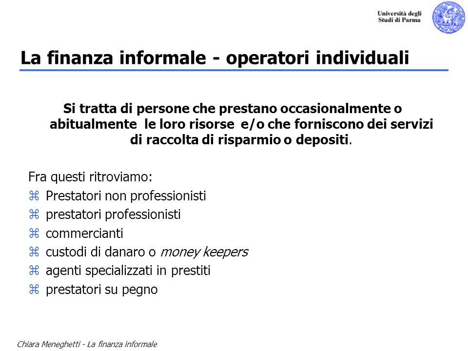 Chiara Meneghetti - La finanza informale La finanza informale - operatori individuali Si tratta di persone che prestano occasionalmente o abitualmente