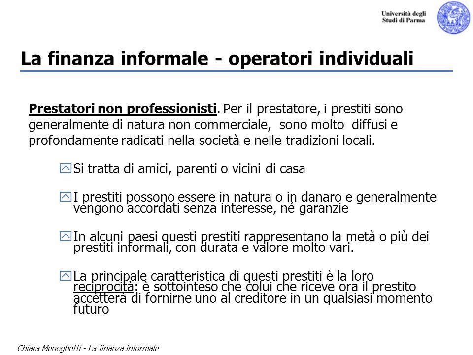 Chiara Meneghetti - La finanza informale La finanza informale - operatori individuali Prestatori non professionisti. Per il prestatore, i prestiti son