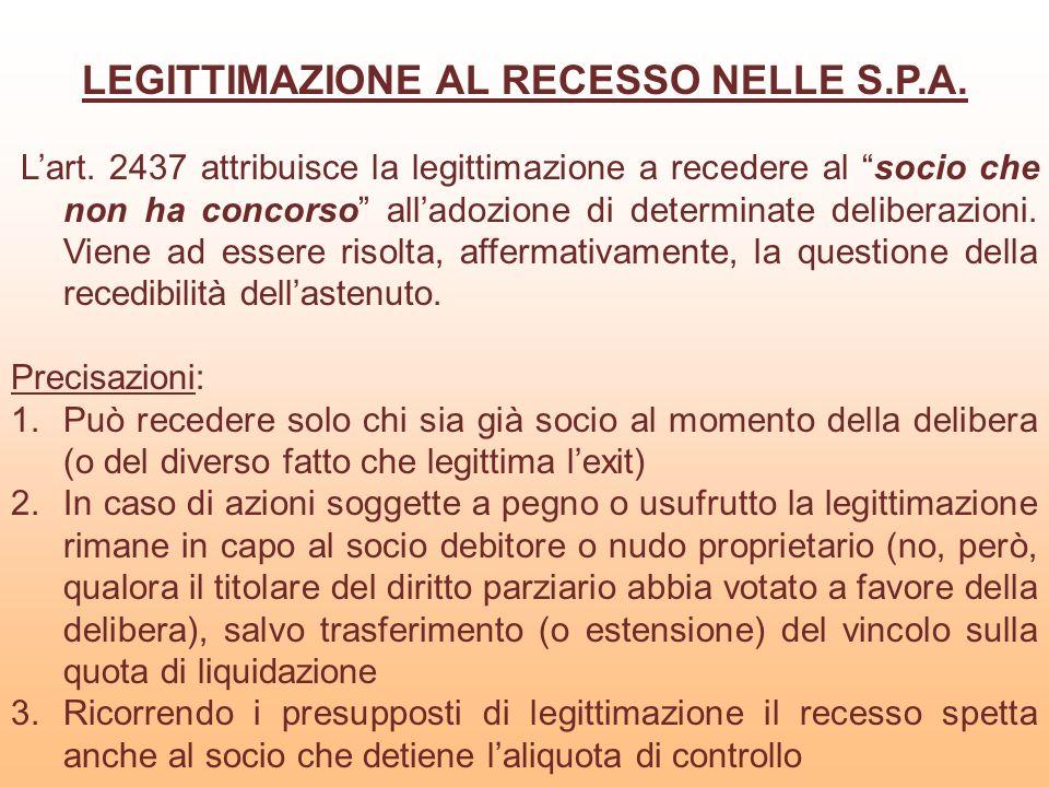 LEGITTIMAZIONE AL RECESSO NELLE S.P.A. Lart. 2437 attribuisce la legittimazione a recedere al socio che non ha concorso alladozione di determinate del