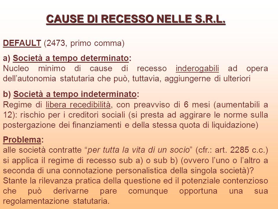 CAUSE DI RECESSO NELLE S.R.L. DEFAULT (2473, primo comma) a) Società a tempo determinato: Nucleo minimo di cause di recesso inderogabili ad opera dell