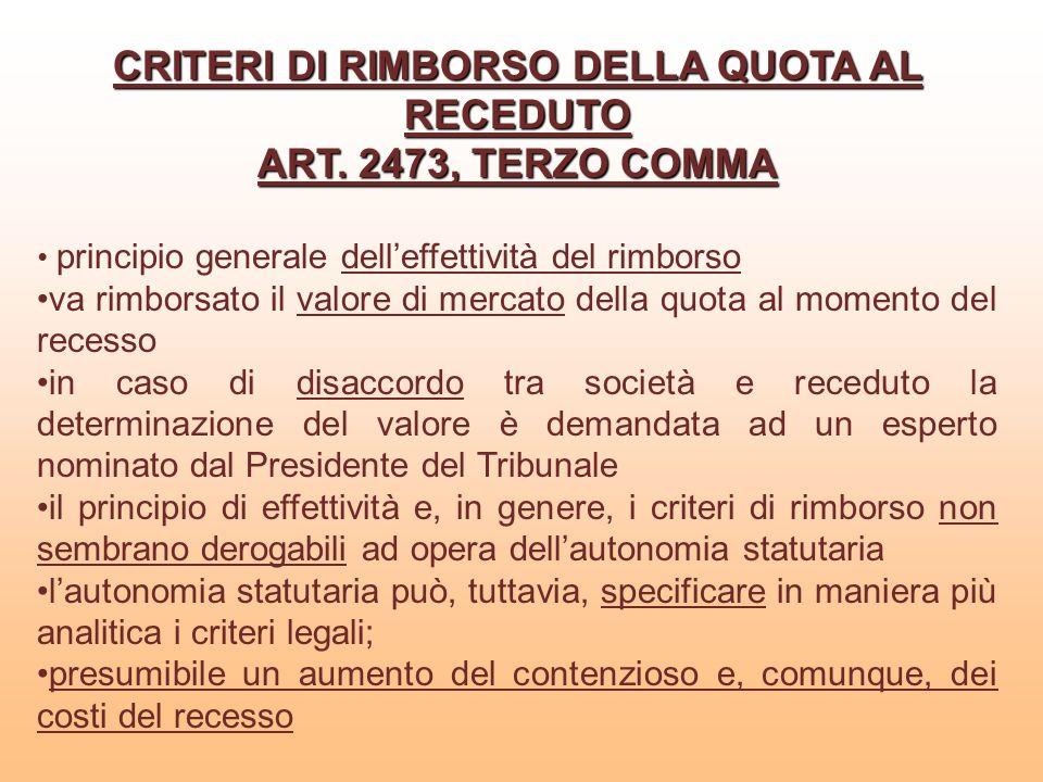 CRITERI DI RIMBORSO DELLA QUOTA AL RECEDUTO ART. 2473, TERZO COMMA principio generale delleffettività del rimborso va rimborsato il valore di mercato