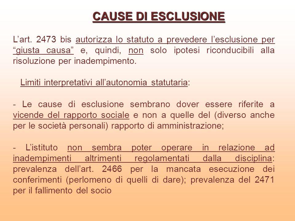 CAUSE DI ESCLUSIONE Lart. 2473 bis autorizza lo statuto a prevedere lesclusione per giusta causa e, quindi, non solo ipotesi riconducibili alla risolu