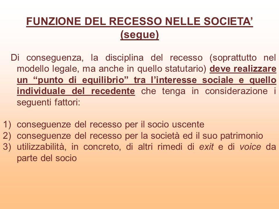 FUNZIONE DEL RECESSO NELLE SOCIETA (segue) Di conseguenza, la disciplina del recesso (soprattutto nel modello legale, ma anche in quello statutario) d