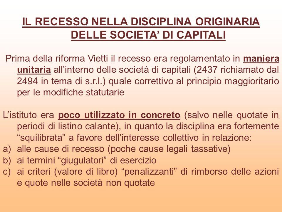 CAUSE LEGALI ED INDEROGABILI DI RECESSO PREVISTE NELLART.