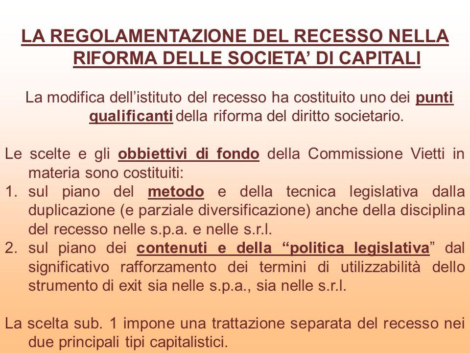LE FONTI DI DISCIPLINA DEL RECESSO NELLE S.P.A.La nuova disciplina delle s.p.a.