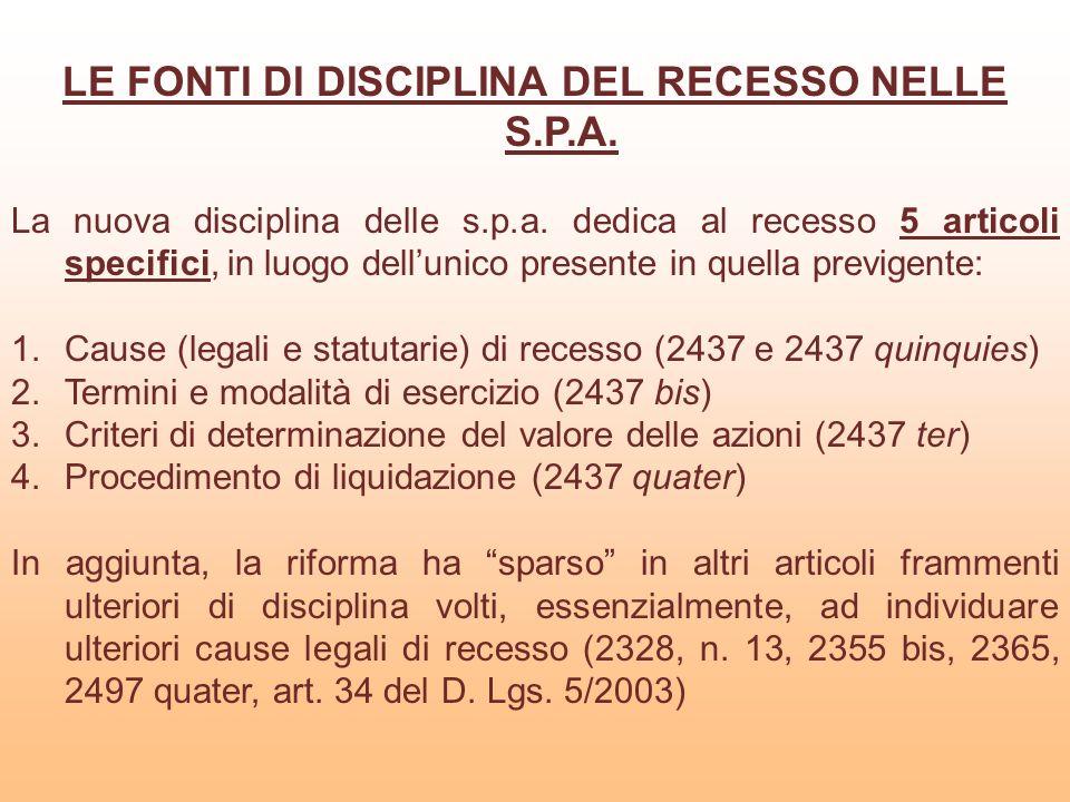 LE FONTI DI DISCIPLINA DEL RECESSO NELLE S.P.A. La nuova disciplina delle s.p.a. dedica al recesso 5 articoli specifici, in luogo dellunico presente i