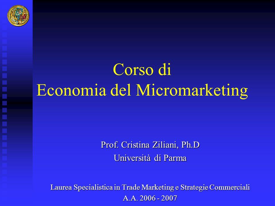 Corso di Economia del Micromarketing Prof. Cristina Ziliani, Ph.D Università di Parma Laurea Specialistica in Trade Marketing e Strategie Commerciali