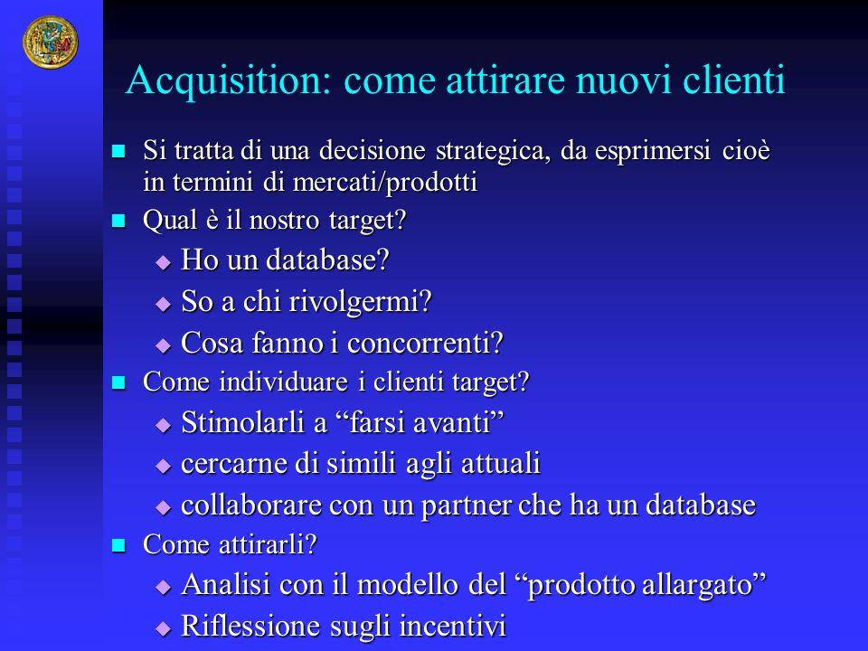 Acquisition: come attirare nuovi clienti Si tratta di una decisione strategica, da esprimersi cioè in termini di mercati/prodotti Si tratta di una dec