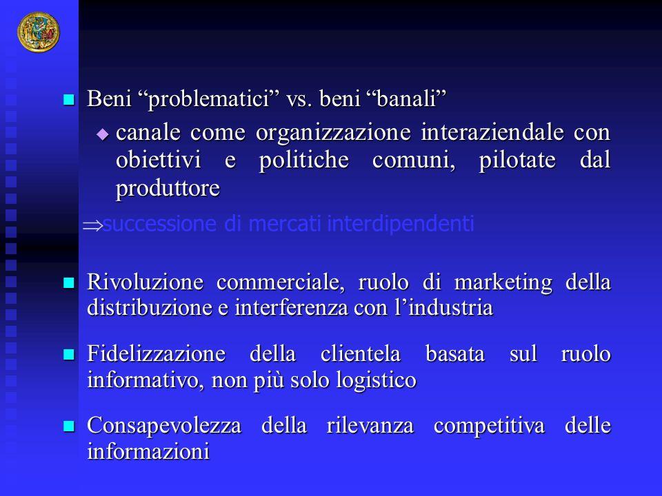 Beni problematici vs. beni banali Beni problematici vs. beni banali canale come organizzazione interaziendale con obiettivi e politiche comuni, pilota
