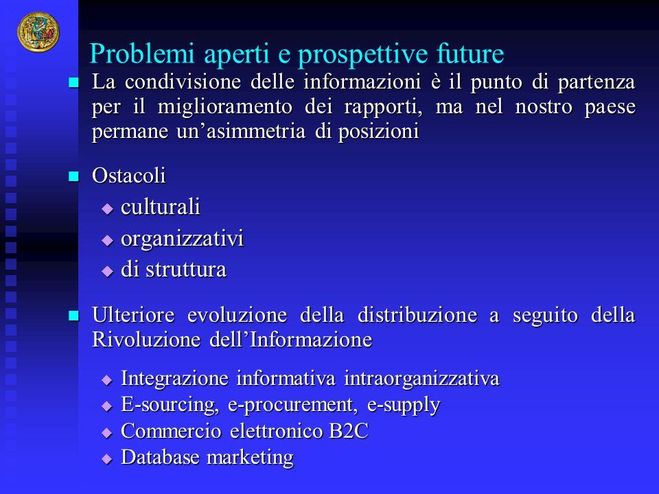 Problemi aperti e prospettive future La condivisione delle informazioni è il punto di partenza per il miglioramento dei rapporti, ma nel nostro paese