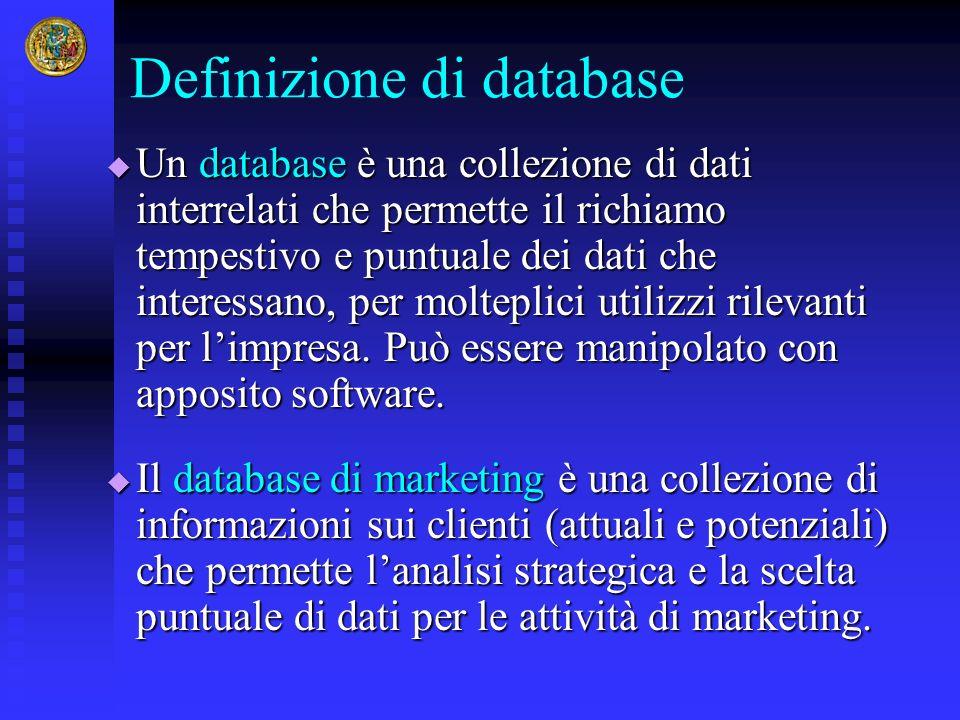 Definizione di database Un database è una collezione di dati interrelati che permette il richiamo tempestivo e puntuale dei dati che interessano, per