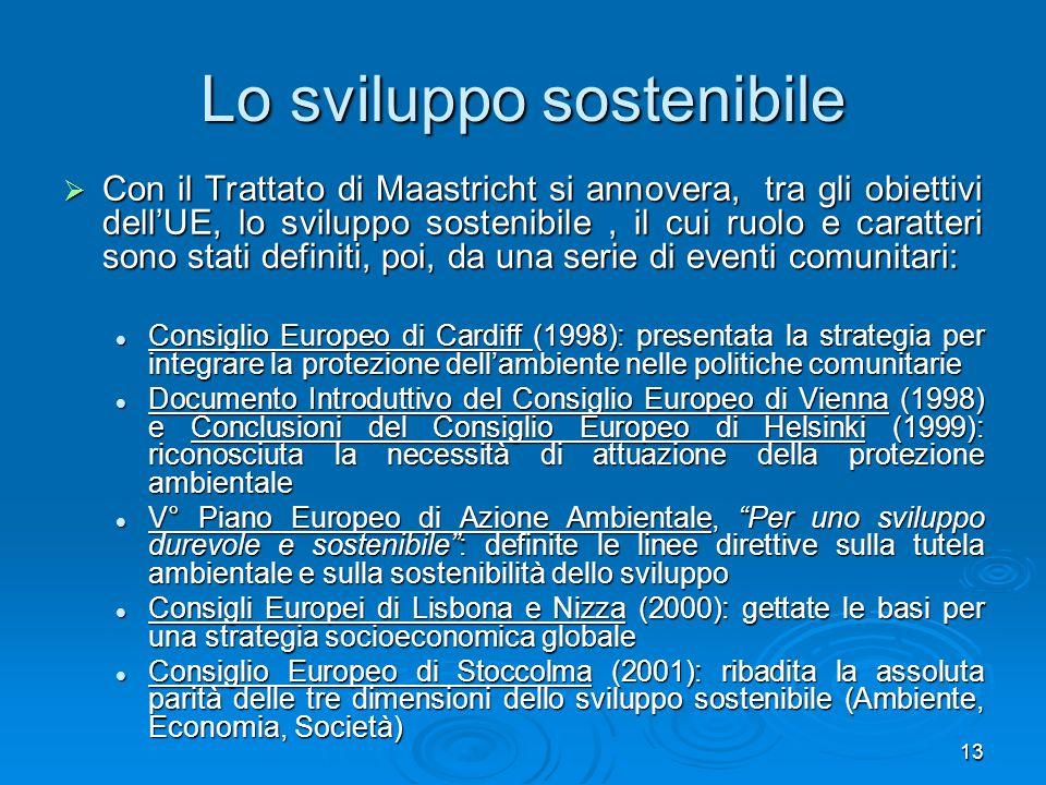 13 Lo sviluppo sostenibile Con il Trattato di Maastricht si annovera, tra gli obiettivi dellUE, lo sviluppo sostenibile, il cui ruolo e caratteri sono