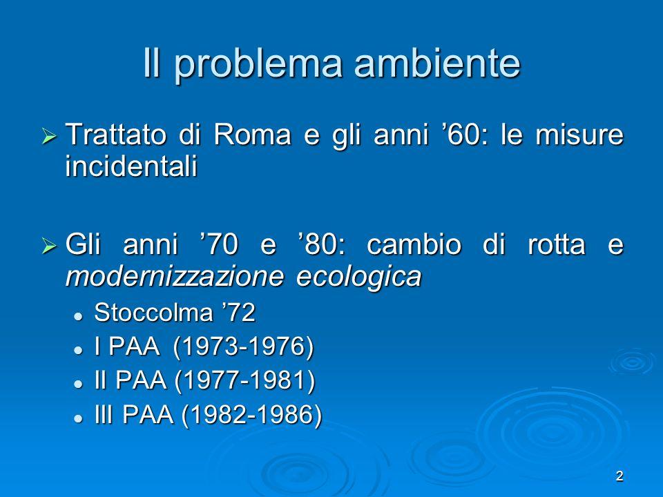 2 Il problema ambiente Trattato di Roma e gli anni 60: le misure incidentali Trattato di Roma e gli anni 60: le misure incidentali Gli anni 70 e 80: c