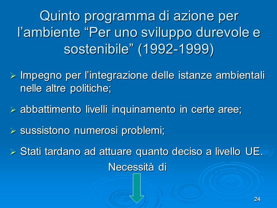 24 Quinto programma di azione per lambiente Per uno sviluppo durevole e sostenibile (1992-1999) Impegno per lintegrazione delle istanze ambientali nel