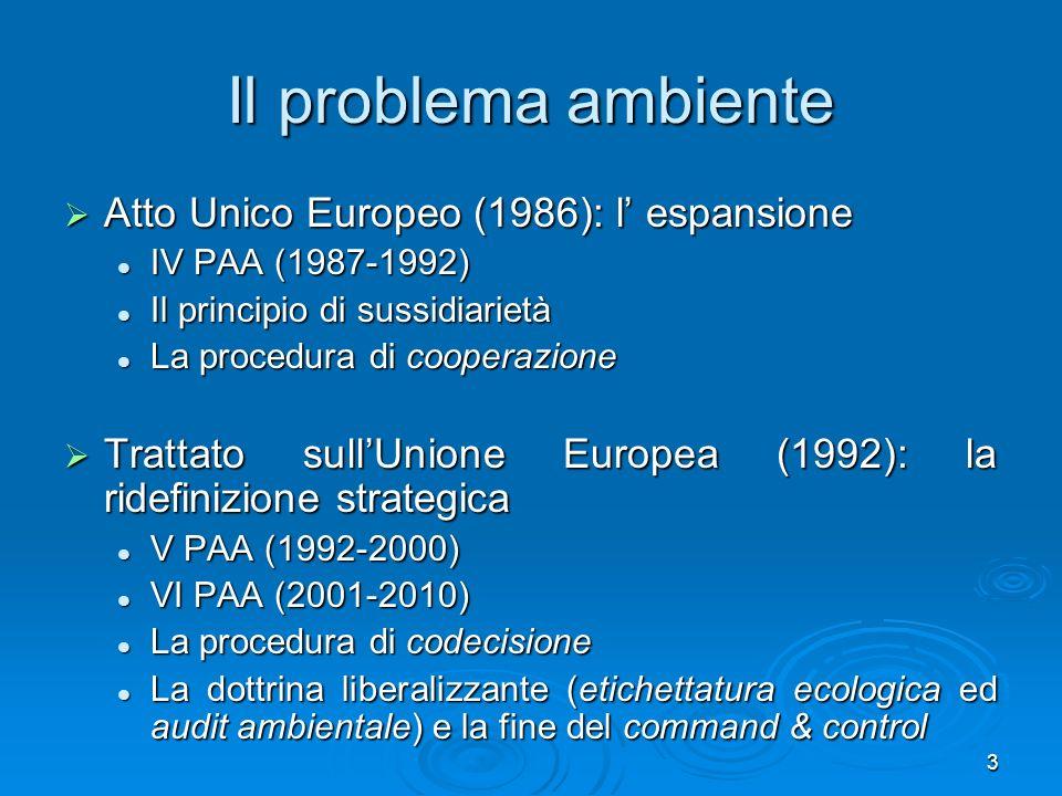 24 Quinto programma di azione per lambiente Per uno sviluppo durevole e sostenibile (1992-1999) Impegno per lintegrazione delle istanze ambientali nelle altre politiche; Impegno per lintegrazione delle istanze ambientali nelle altre politiche; abbattimento livelli inquinamento in certe aree; abbattimento livelli inquinamento in certe aree; sussistono numerosi problemi; sussistono numerosi problemi; Stati tardano ad attuare quanto deciso a livello UE.