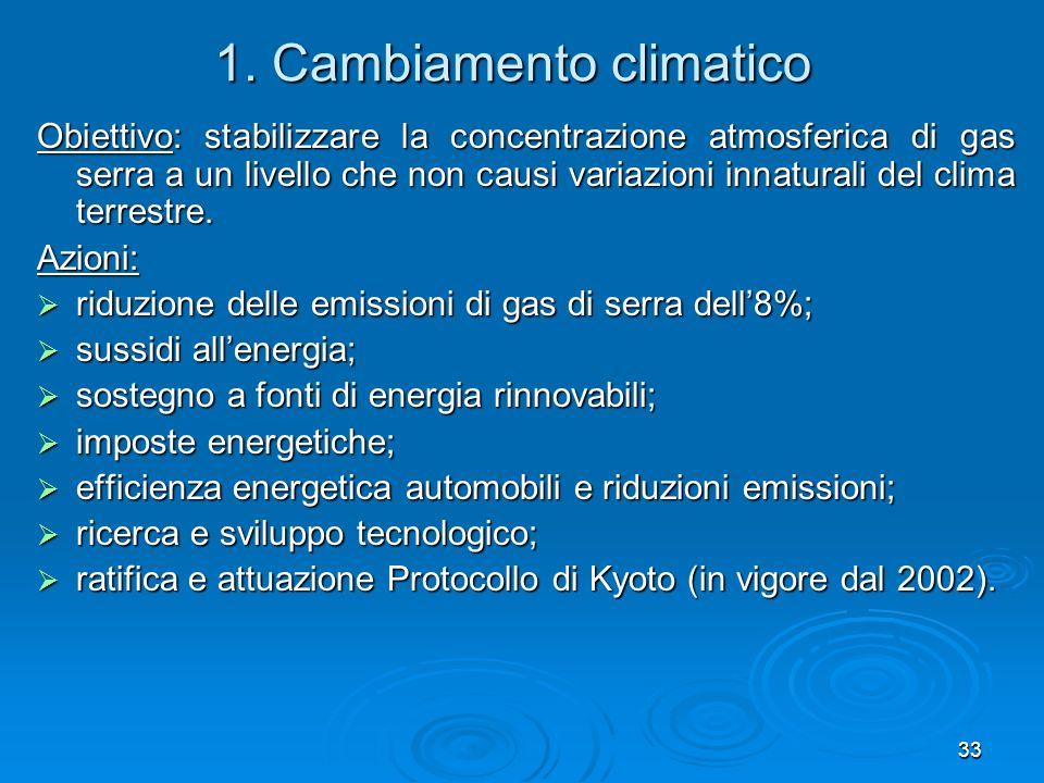 33 1. Cambiamento climatico Obiettivo: stabilizzare la concentrazione atmosferica di gas serra a un livello che non causi variazioni innaturali del cl