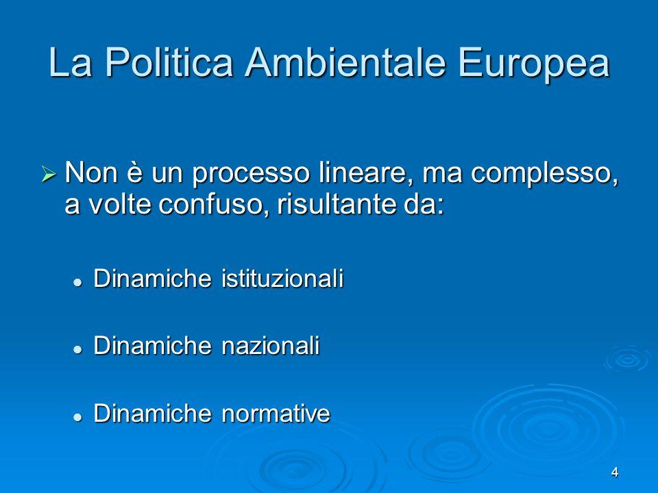 4 La Politica Ambientale Europea Non è un processo lineare, ma complesso, a volte confuso, risultante da: Non è un processo lineare, ma complesso, a v