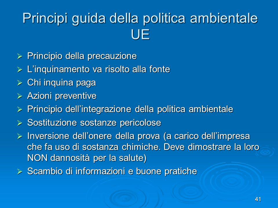 41 Principi guida della politica ambientale UE Principio della precauzione Principio della precauzione Linquinamento va risolto alla fonte Linquinamen
