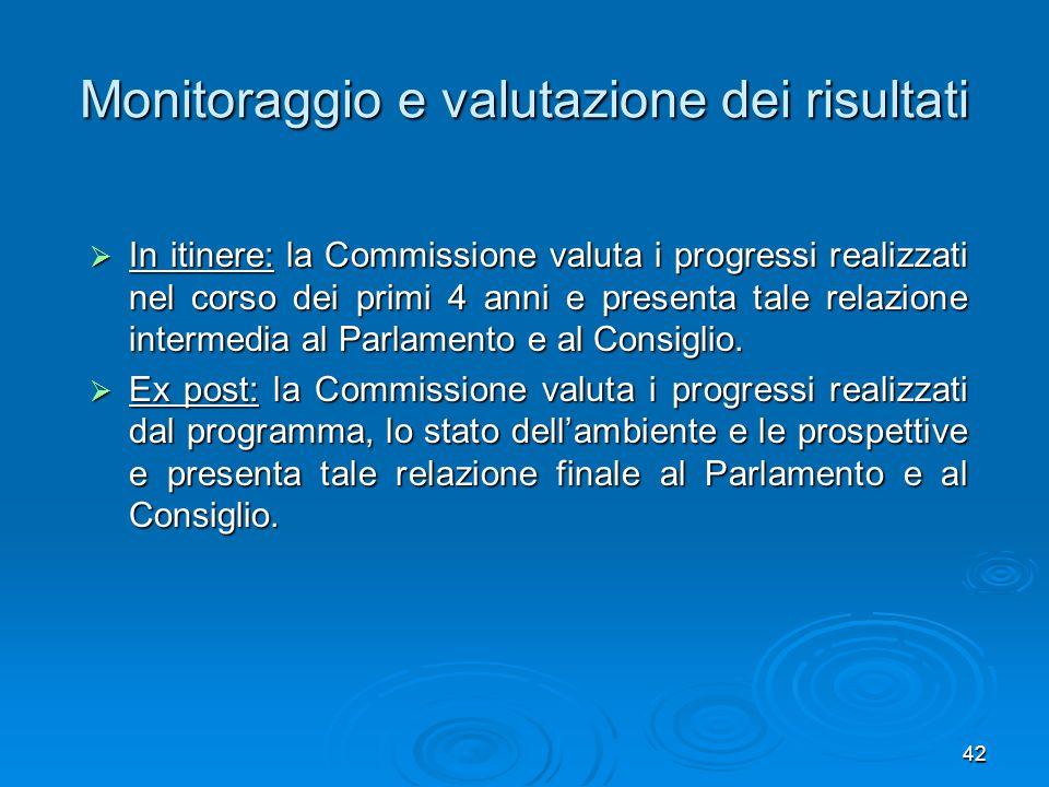 42 Monitoraggio e valutazione dei risultati In itinere: la Commissione valuta i progressi realizzati nel corso dei primi 4 anni e presenta tale relazi