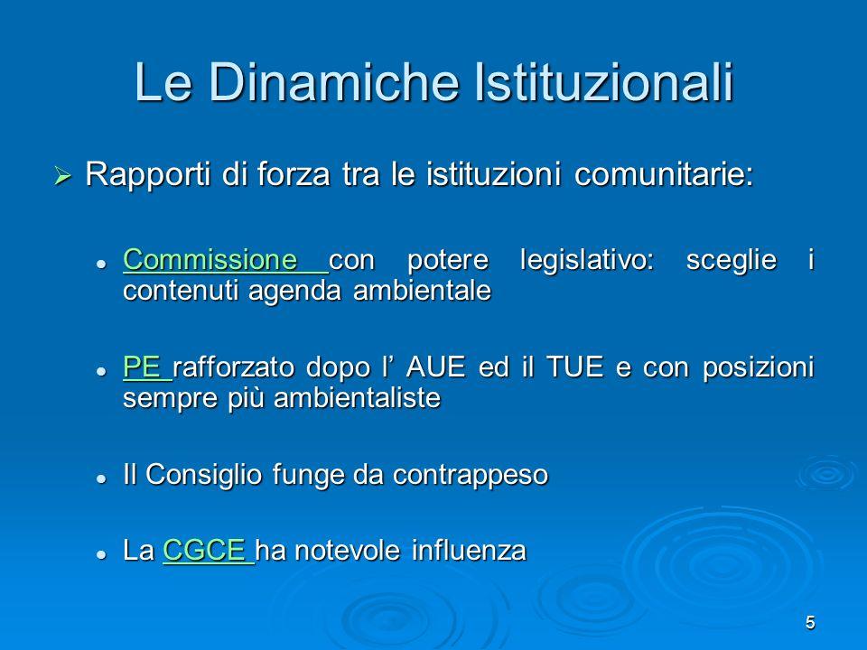 5 Le Dinamiche Istituzionali Rapporti di forza tra le istituzioni comunitarie: Rapporti di forza tra le istituzioni comunitarie: Commissione con poter