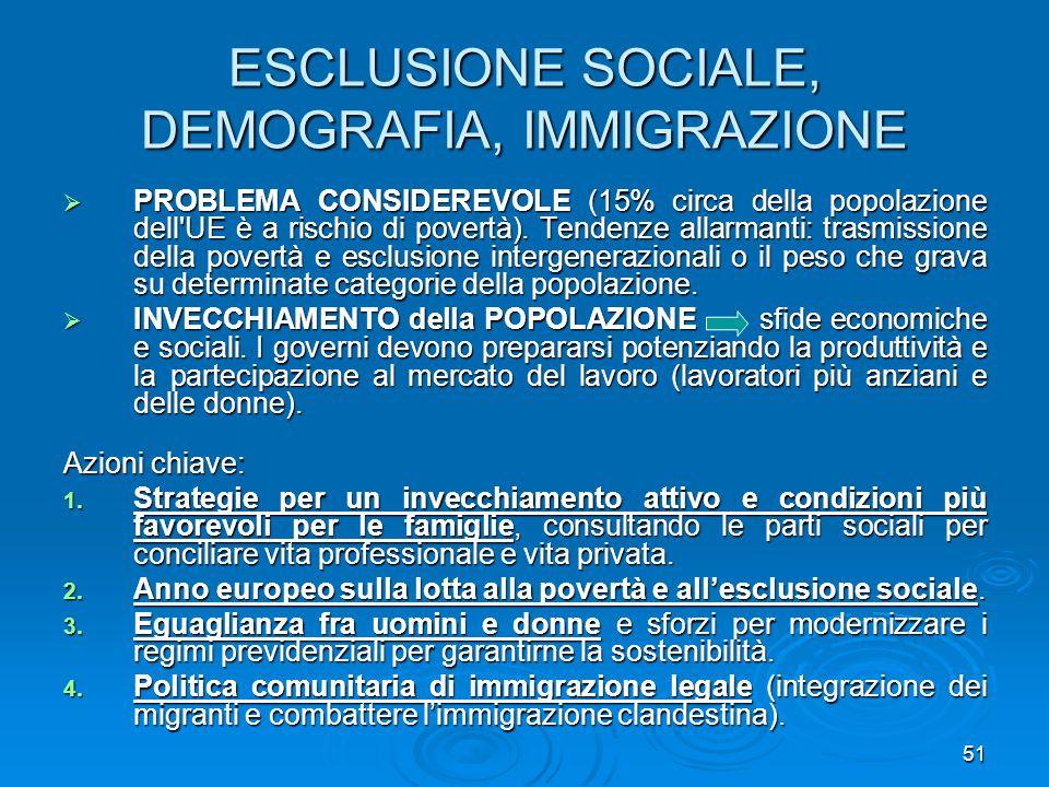 51 ESCLUSIONE SOCIALE, DEMOGRAFIA, IMMIGRAZIONE PROBLEMA CONSIDEREVOLE (15% circa della popolazione dell'UE è a rischio di povertà). Tendenze allarman