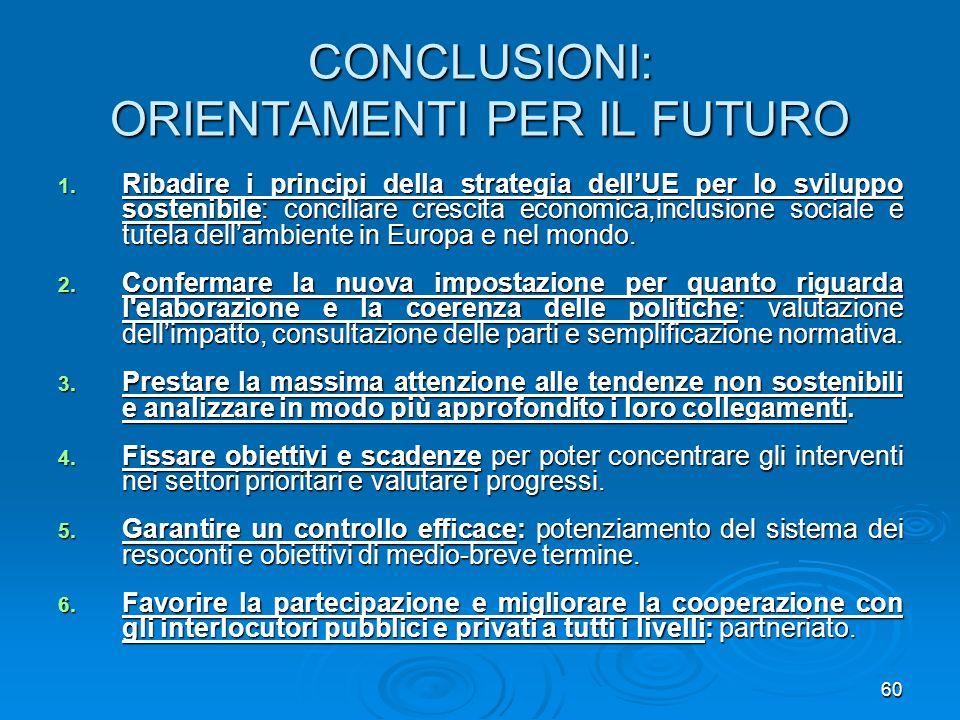 60 CONCLUSIONI: ORIENTAMENTI PER IL FUTURO 1. Ribadire i principi della strategia dellUE per lo sviluppo sostenibile: conciliare crescita economica,in
