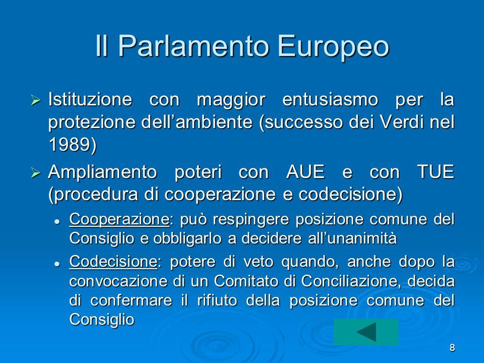 8 Il Parlamento Europeo Istituzione con maggior entusiasmo per la protezione dellambiente (successo dei Verdi nel 1989) Istituzione con maggior entusi