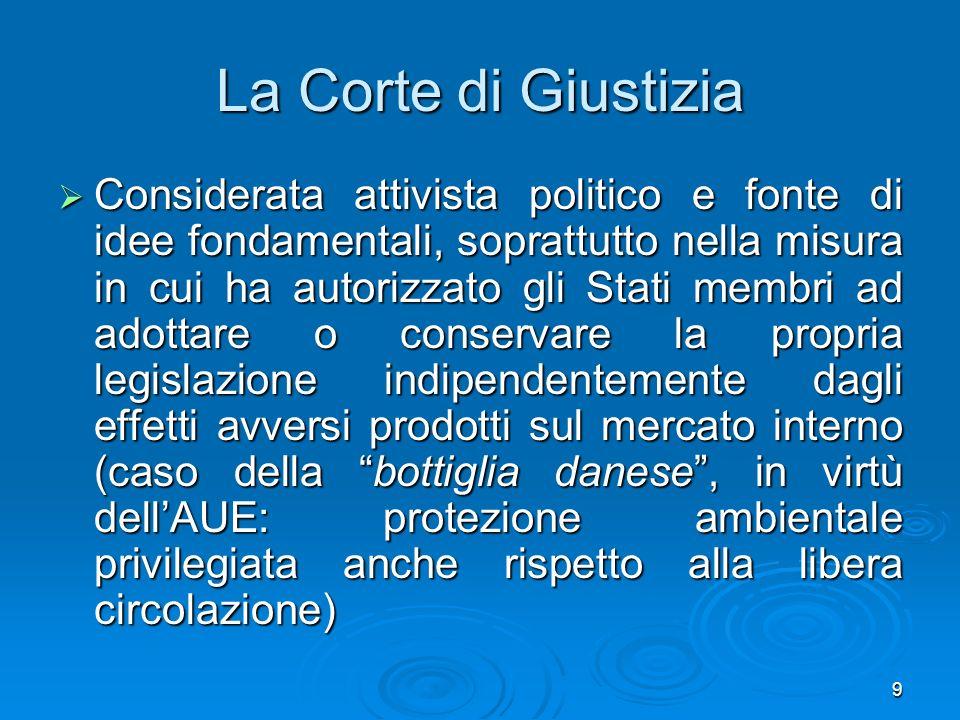 9 La Corte di Giustizia Considerata attivista politico e fonte di idee fondamentali, soprattutto nella misura in cui ha autorizzato gli Stati membri a