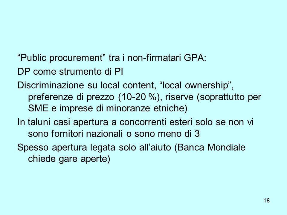 18 Public procurement tra i non-firmatari GPA: DP come strumento di PI Discriminazione su local content, local ownership, preferenze di prezzo (10-20