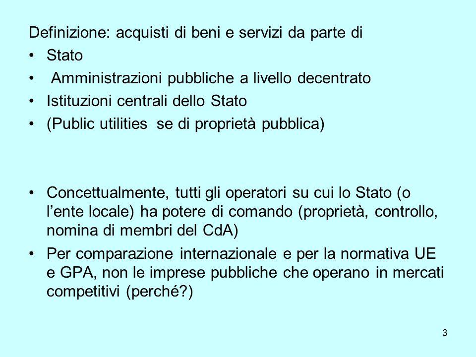3 Definizione: acquisti di beni e servizi da parte di Stato Amministrazioni pubbliche a livello decentrato Istituzioni centrali dello Stato (Public utilities se di proprietà pubblica) Concettualmente, tutti gli operatori su cui lo Stato (o lente locale) ha potere di comando (proprietà, controllo, nomina di membri del CdA) Per comparazione internazionale e per la normativa UE e GPA, non le imprese pubbliche che operano in mercati competitivi (perché )