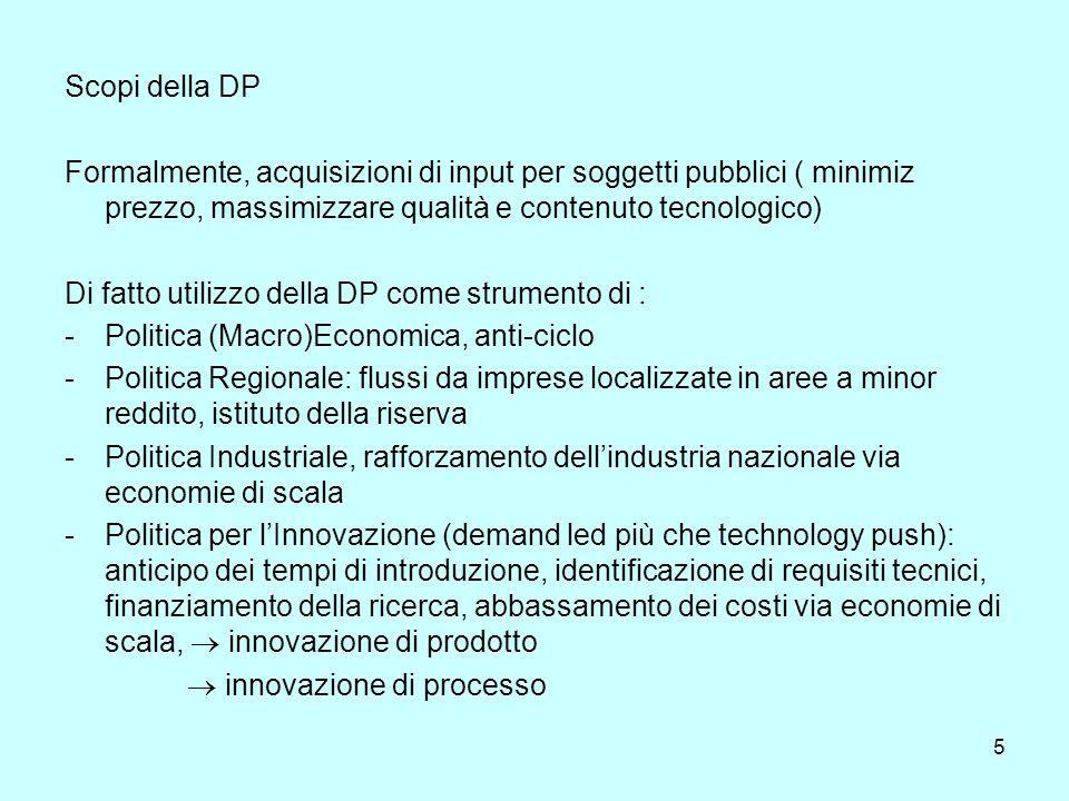 5 Scopi della DP Formalmente, acquisizioni di input per soggetti pubblici ( minimiz prezzo, massimizzare qualità e contenuto tecnologico) Di fatto uti