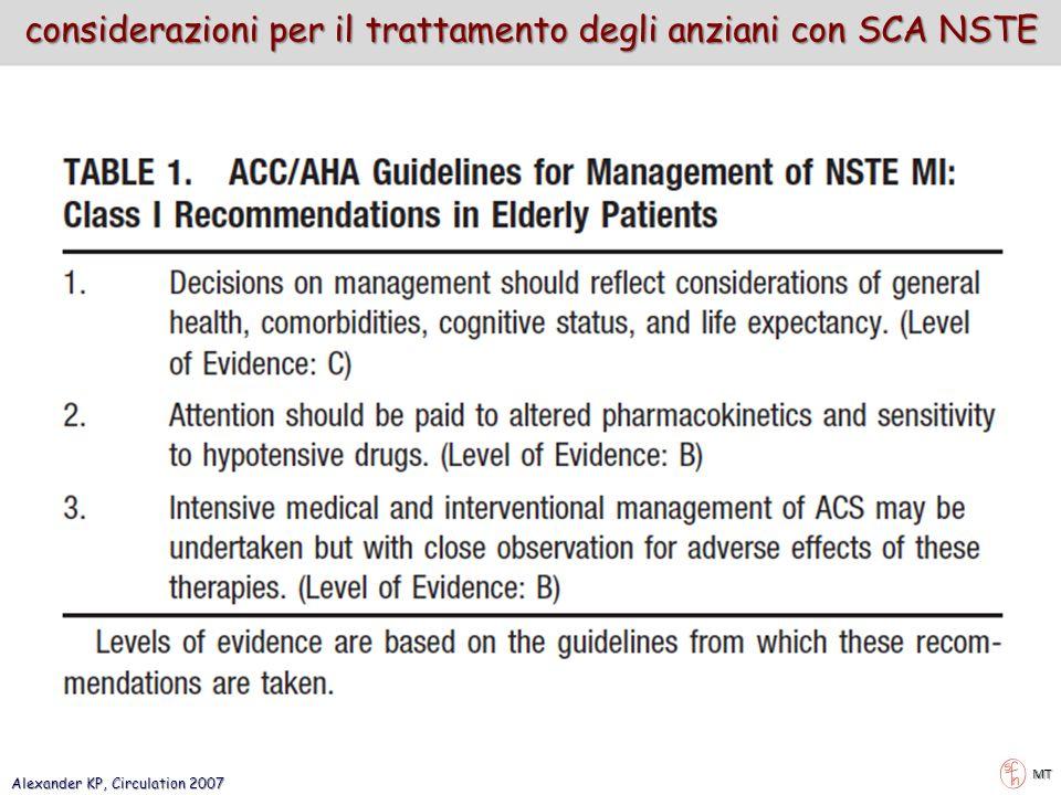 Alexander KP, Circulation 2007 MT considerazioni per il trattamento degli anziani con SCA NSTE