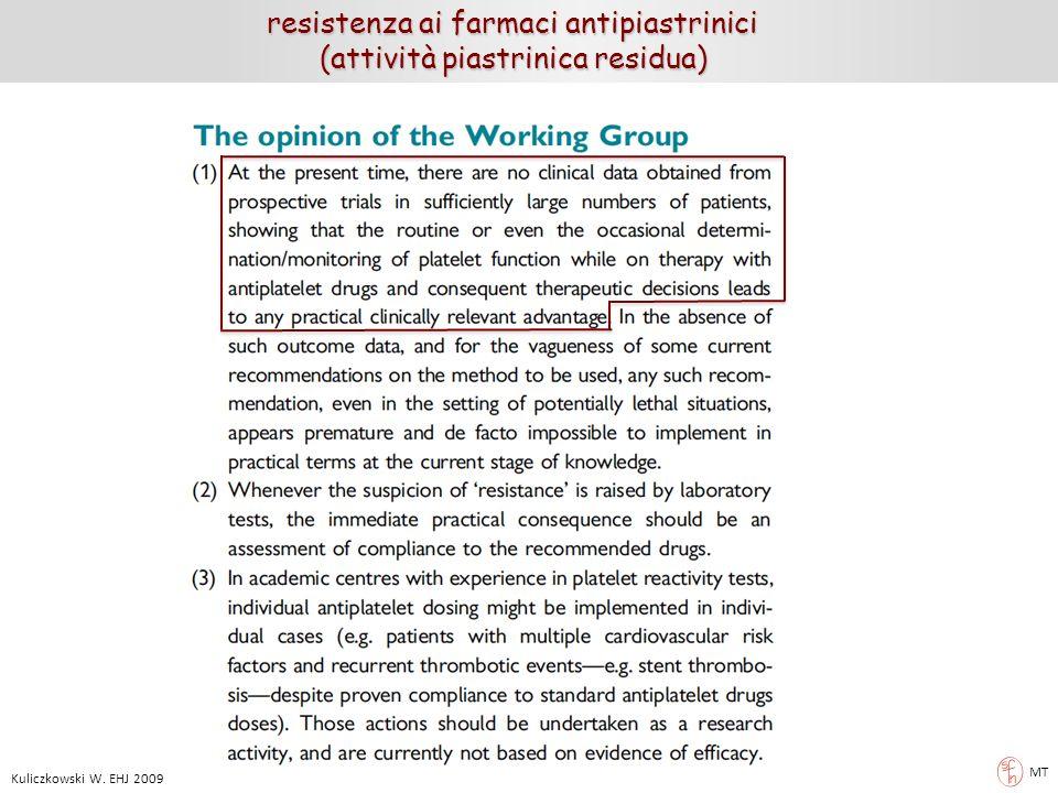 MT Kuliczkowski W. EHJ 2009 resistenza ai farmaci antipiastrinici (attività piastrinica residua) (attività piastrinica residua)