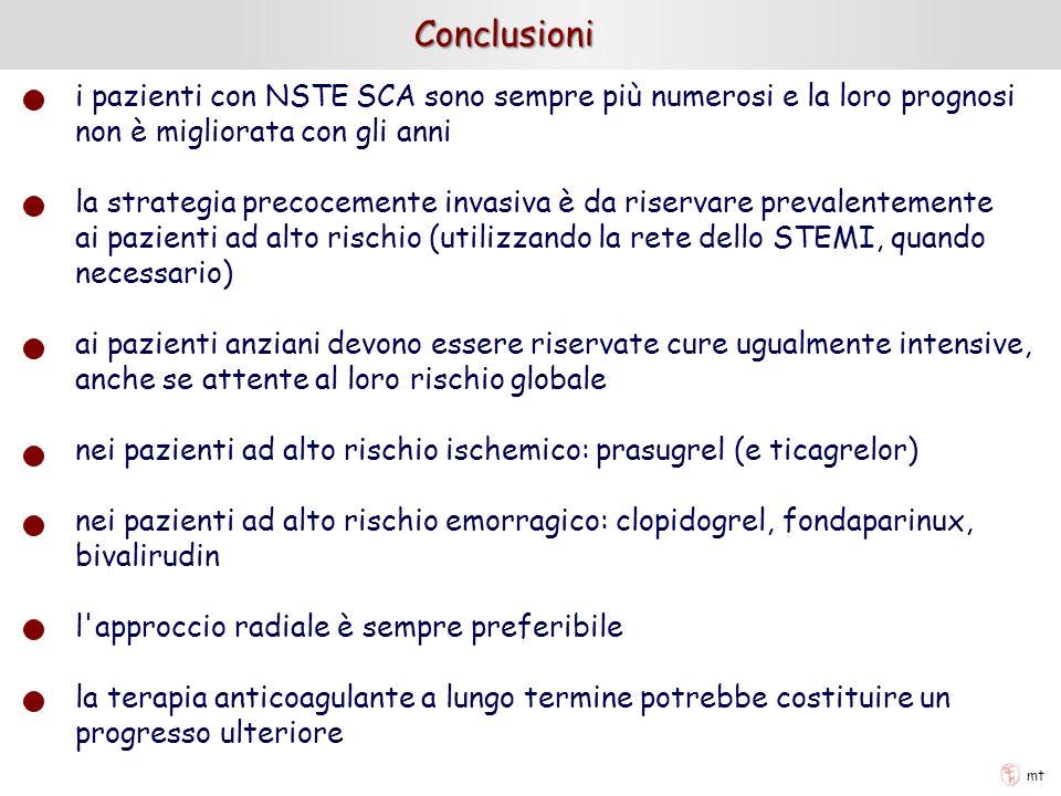 mt Conclusioni i pazienti con NSTE SCA sono sempre più numerosi e la loro prognosi non è migliorata con gli anni la strategia precocemente invasiva è