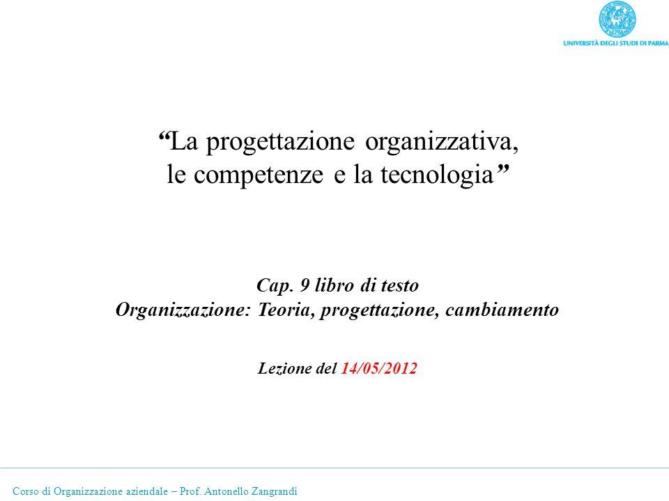 Corso di Organizzazione aziendale – Prof. Antonello Zangrandi La progettazione organizzativa, le competenze e la tecnologia Cap. 9 libro di testo Orga