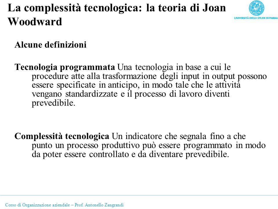 Corso di Organizzazione aziendale – Prof. Antonello Zangrandi La complessità tecnologica: la teoria di Joan Woodward Alcune definizioni Tecnologia pro