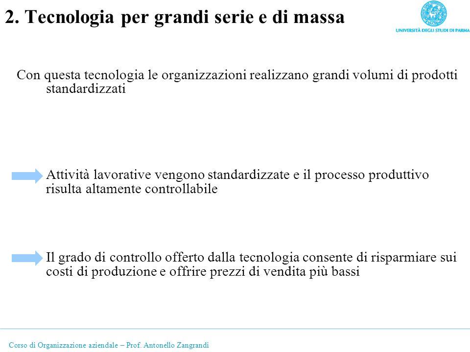 Corso di Organizzazione aziendale – Prof. Antonello Zangrandi 2. Tecnologia per grandi serie e di massa Con questa tecnologia le organizzazioni realiz