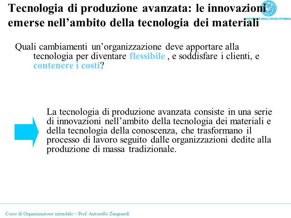 Corso di Organizzazione aziendale – Prof. Antonello Zangrandi Tecnologia di produzione avanzata: le innovazioni emerse nellambito della tecnologia dei