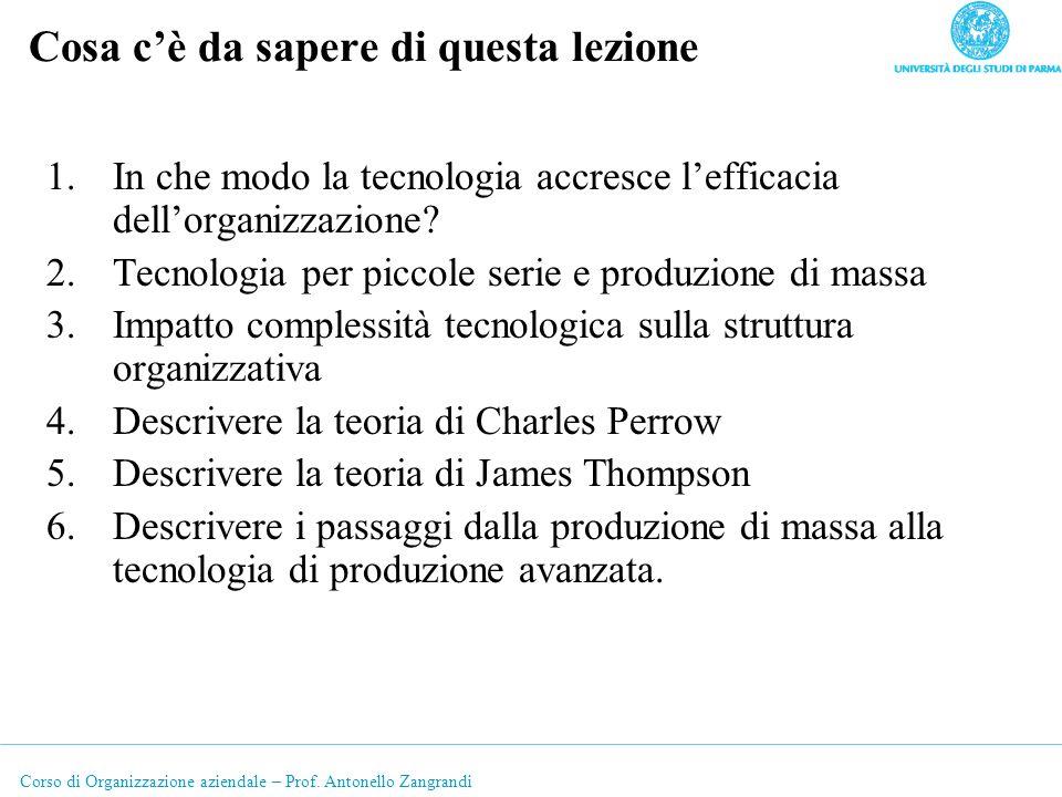 Corso di Organizzazione aziendale – Prof. Antonello Zangrandi Cosa cè da sapere di questa lezione 1.In che modo la tecnologia accresce lefficacia dell