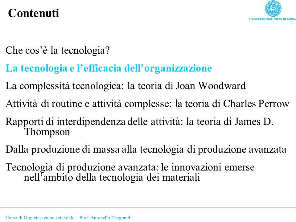 Corso di Organizzazione aziendale – Prof. Antonello Zangrandi Contenuti Che cosè la tecnologia? La tecnologia e lefficacia dellorganizzazione La compl