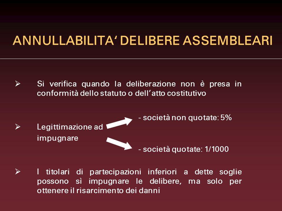 ANNULLABILITA DELIBERE ASSEMBLEARI Si verifica quando la deliberazione non è presa in conformità dello statuto o dellatto costitutivo Legittimazione a