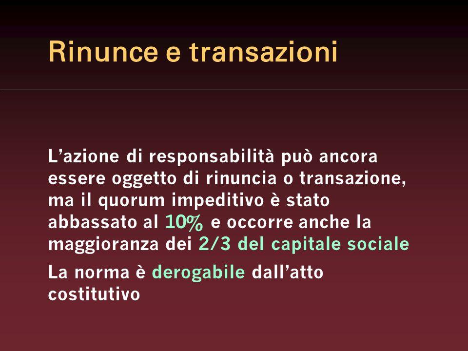 Rinunce e transazioni Lazione di responsabilità può ancora essere oggetto di rinuncia o transazione, ma il quorum impeditivo è stato abbassato al 10%