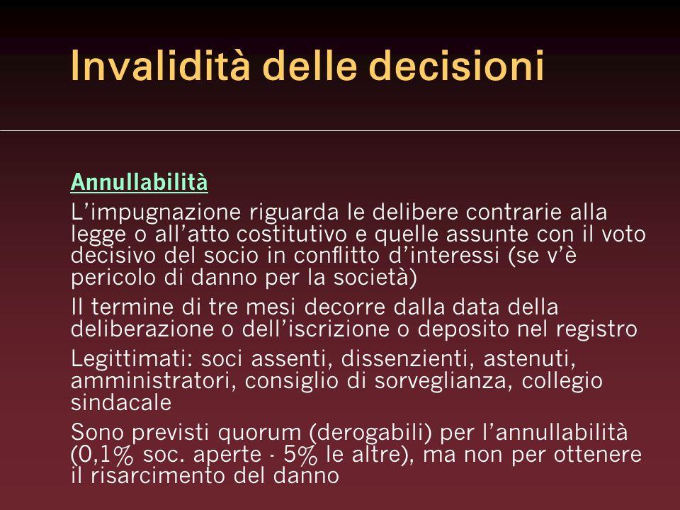 Invalidità delle decisioni Annullabilità Limpugnazione riguarda le delibere contrarie alla legge o allatto costitutivo e quelle assunte con il voto de