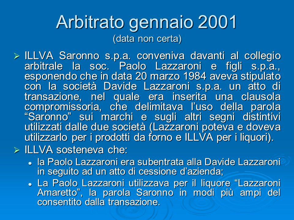 Arbitrato gennaio 2001 (data non certa) ILLVA Saronno s.p.a. conveniva davanti al collegio arbitrale la soc. Paolo Lazzaroni e figli s.p.a., esponendo