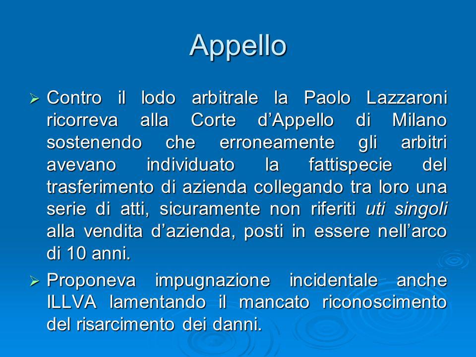 Appello Contro il lodo arbitrale la Paolo Lazzaroni ricorreva alla Corte dAppello di Milano sostenendo che erroneamente gli arbitri avevano individuat