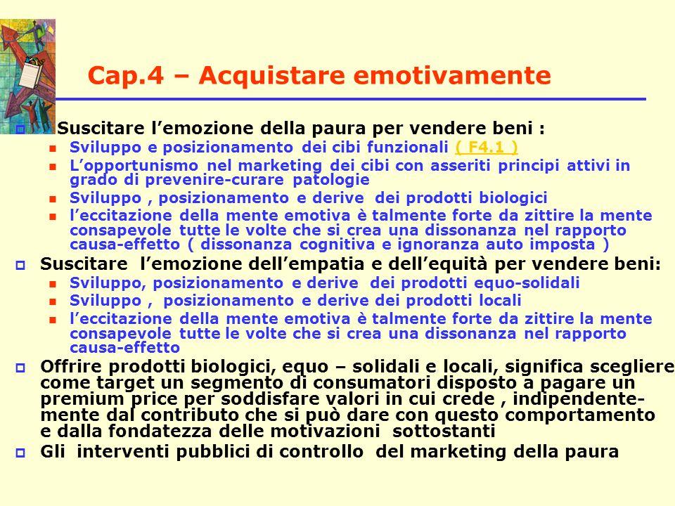 Cap.4 – Acquistare emotivamente Suscitare lemozione della paura per vendere beni : Sviluppo e posizionamento dei cibi funzionali ( F4.1 )( F4.1 ) Lopp