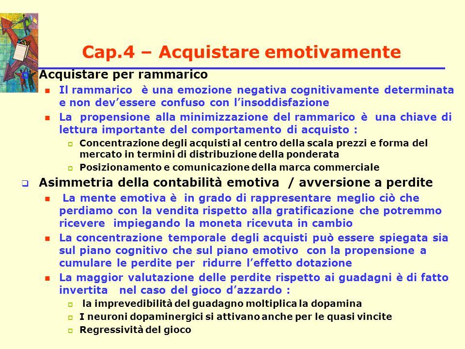Cap.4 – Acquistare emotivamente Acquistare per rammarico Il rammarico è una emozione negativa cognitivamente determinata e non devessere confuso con l